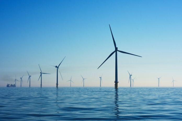 Rampion Offshore Wind Farm in sea around Britain